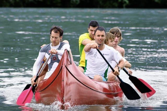 Skispringer im Wasser