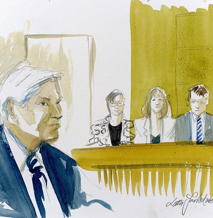 Die Zeichnung zeigt den ehemaligen Polizeichef vor Gericht.   | Foto: AFP