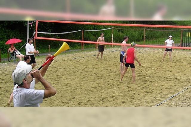 Fröhliche Volleyball-Party