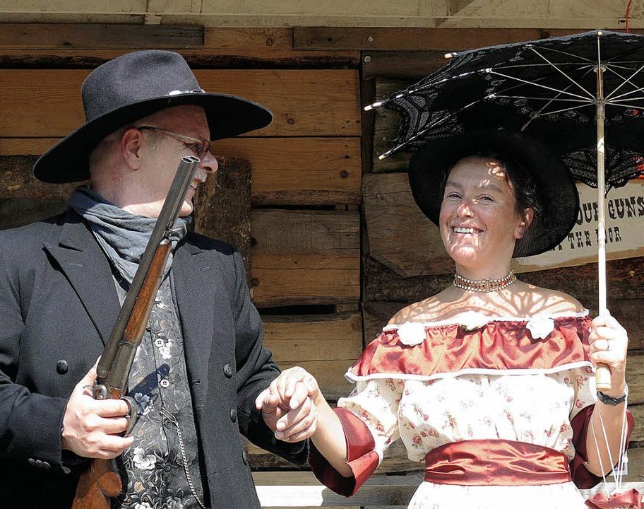 Historisch korrekt gekleidet versammelten sich die Westernfans in Schluchsee.    Foto: Ute Aschendorf