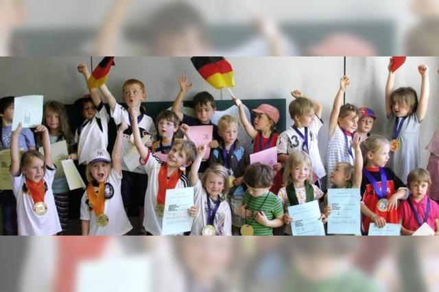 Ein ganzer Kindergarten vom WM-Fieber gepackt