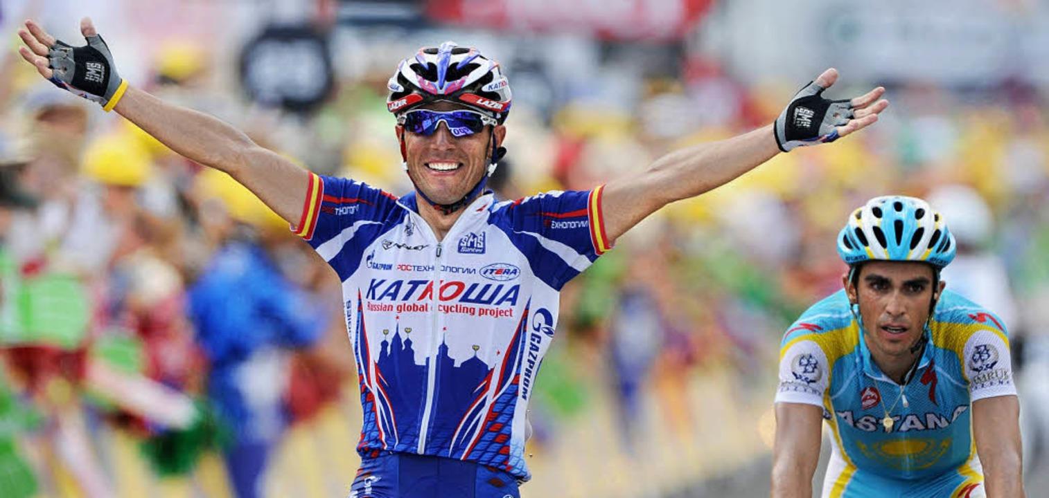 Im Ziel von Joaquin Rodriguez (links) ...h ein großes Rennen: Alberto Contador     Foto: afp