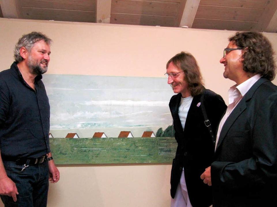Auch Kolibri, EnBW-Förderpreisträger 2...te), gratulierte Peter Schütz vor Ort.  | Foto: Susanne Filz