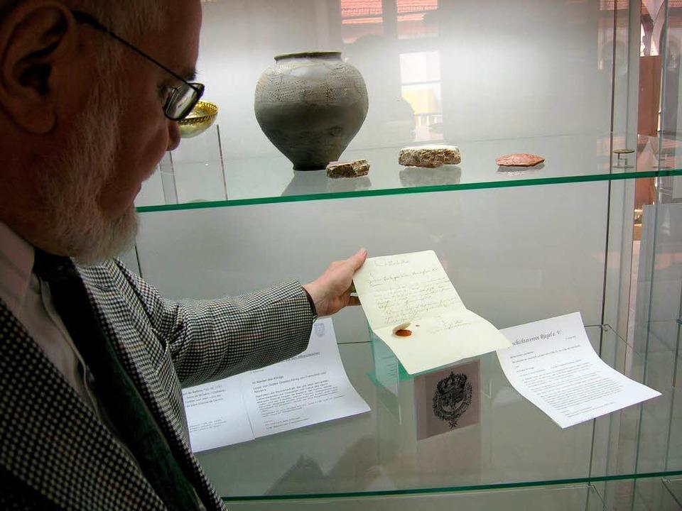 Riegels  Geschichtsverein hat dieses  historische Dokument erworben.    Foto: Michael Haberer