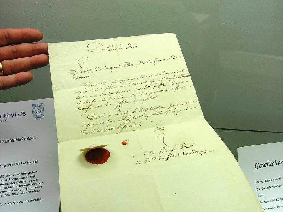 Dokument mit Unterschrift des Königs Ludwig XVIII:    Foto: Michael Haberer