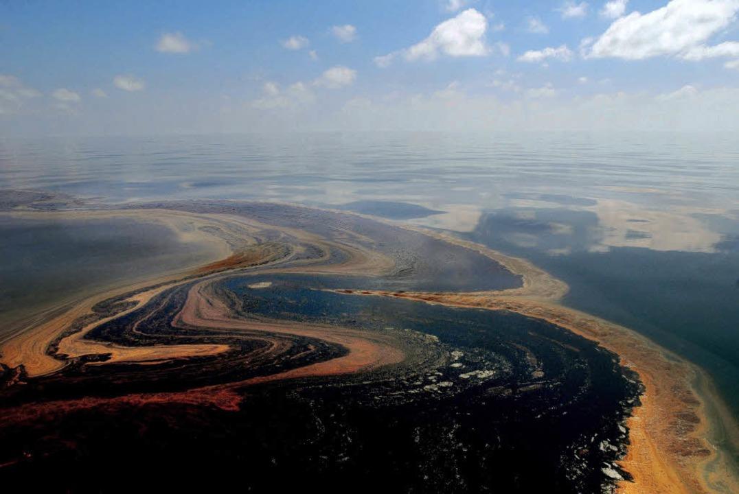 So sah der Ölteppich Anfang Mai aus. E...h immer die Umwelt, vermuten Experten.  | Foto: dpa
