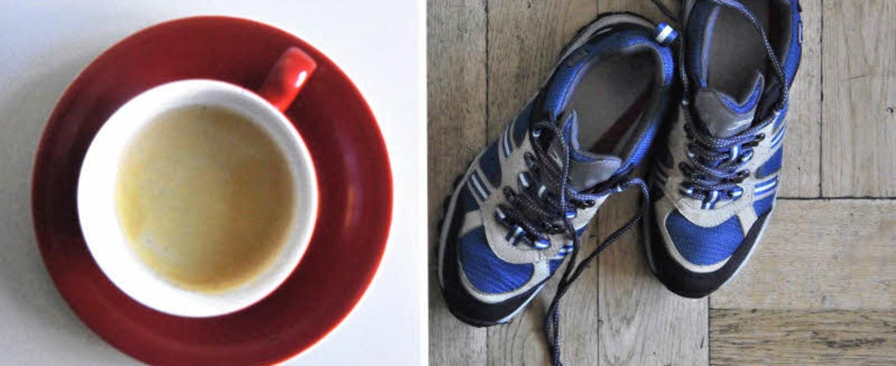 Die Laufschuhe neben der Kaffeetasse – so kann der Tag beginnen.  | Foto: Michael Bamberger