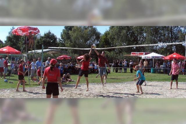 Volleyballer testen mit hervorragendem Ergebnis das neue Feld