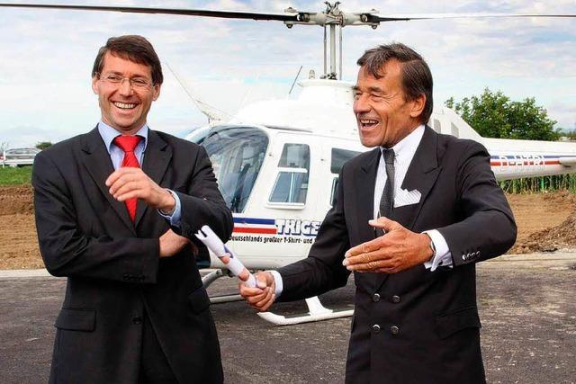 Trigema-Chef kommt per Helikopter nach Ettenheim