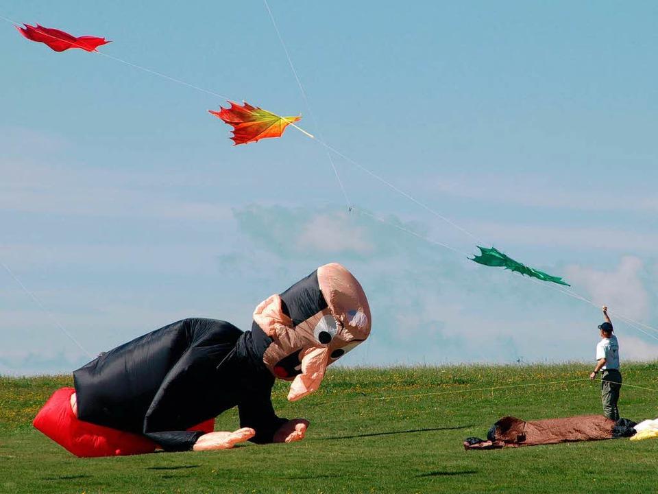 Drachen in allen erdenklichen Farben u...ber dem Segelflugplatz Hütten zu sehen  | Foto: Karin Stöckl-Steinebrunner