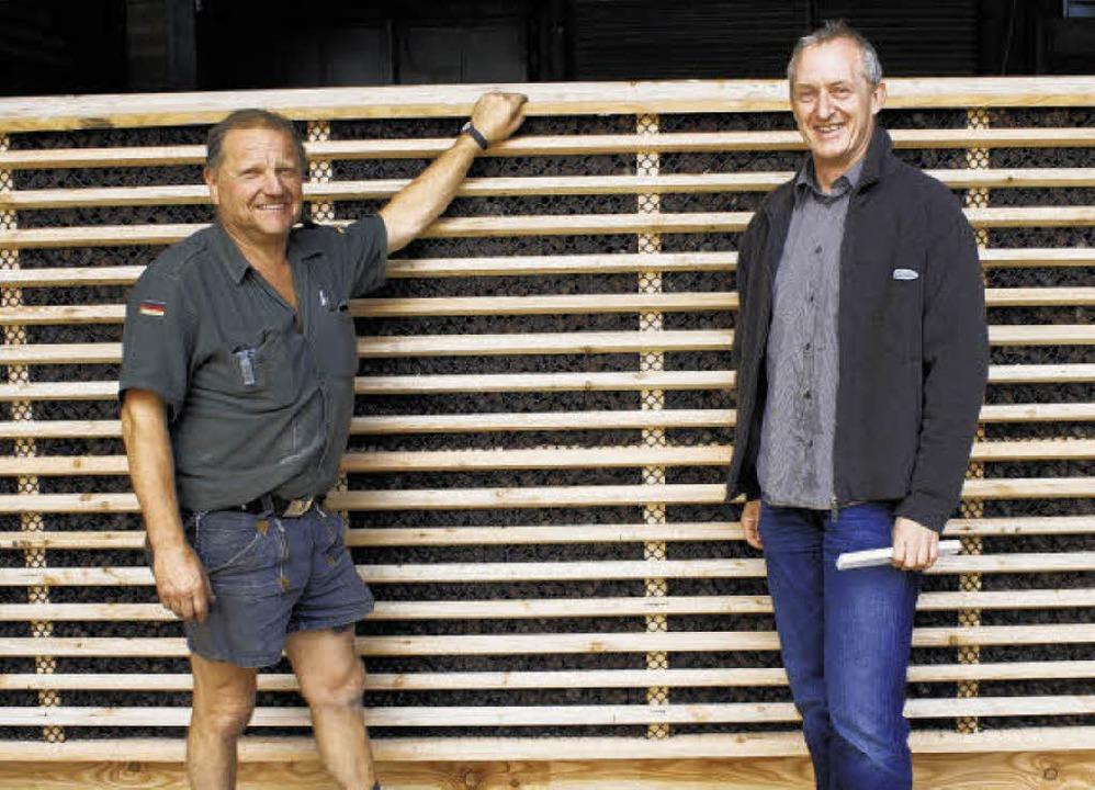 Die Holzschutzwand, die von Michael Br...kerbetrieb von Ernst Zwick gefertigt.     Foto: molitor