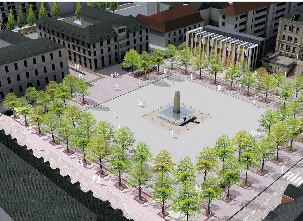 Der Place Abbatucci mit dem neuen zeitgenössischen Akzent (hinten)  | Foto: Stadt Hüningen