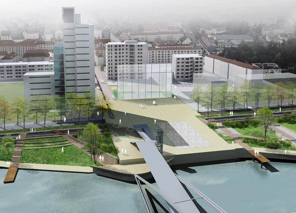 Das neue 14-stöckige Hochhaus steht be...ngen in den nächsten Jahren anstehen.   | Foto: VILLE DE HUNINGUE