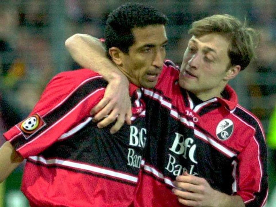 Sturmpartner beim SC Freiburg: Adel Se...nks) zusammen mit Alexander Iaschvili.  | Foto: dpa/lsw