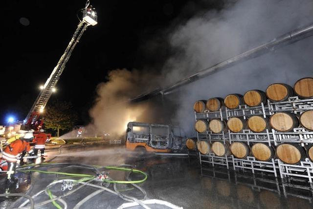 Brand im Weingut Wassmer – welche Rolle spielt der Kleinlaster?