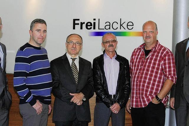 Gleich vier Arbeitsjubiläen bei der Firma Frei Lacke