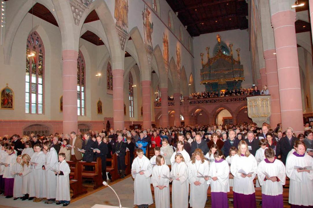 Bei der Einweihung des renovierten Münsters im Dezember 2008.  | Foto: Peter Stellmach