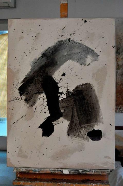 """Impulso"", Mischtechnik, abstrakte Malerei 65 x 90 Zentimeter    Foto: Barbara Ruda"
