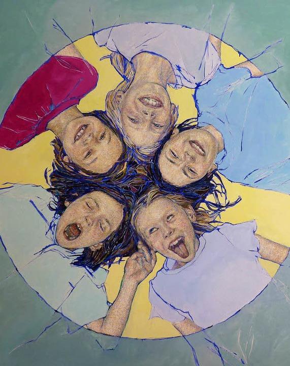 Der frech-fröhliche Kinderkreis der Annette von Borstel, Öl/Leinwand  | Foto: von Borstel
