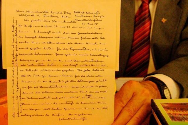 Dokumentation: Albert-Schweitzer-Brief an die Görwihler