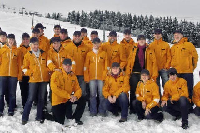 Freundliche gelbe Engel für die Skipiste