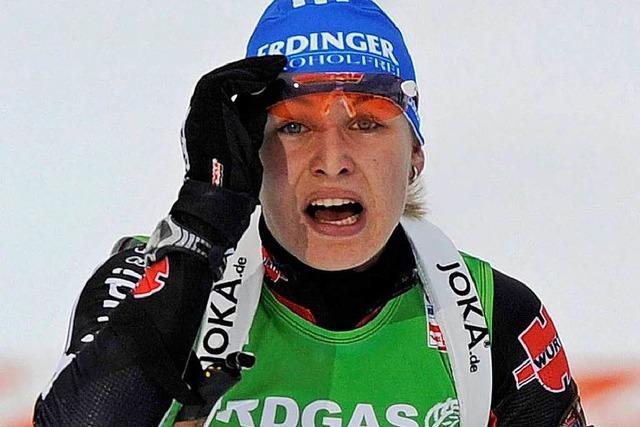 Magdalena Neuner wird vom Winde verweht