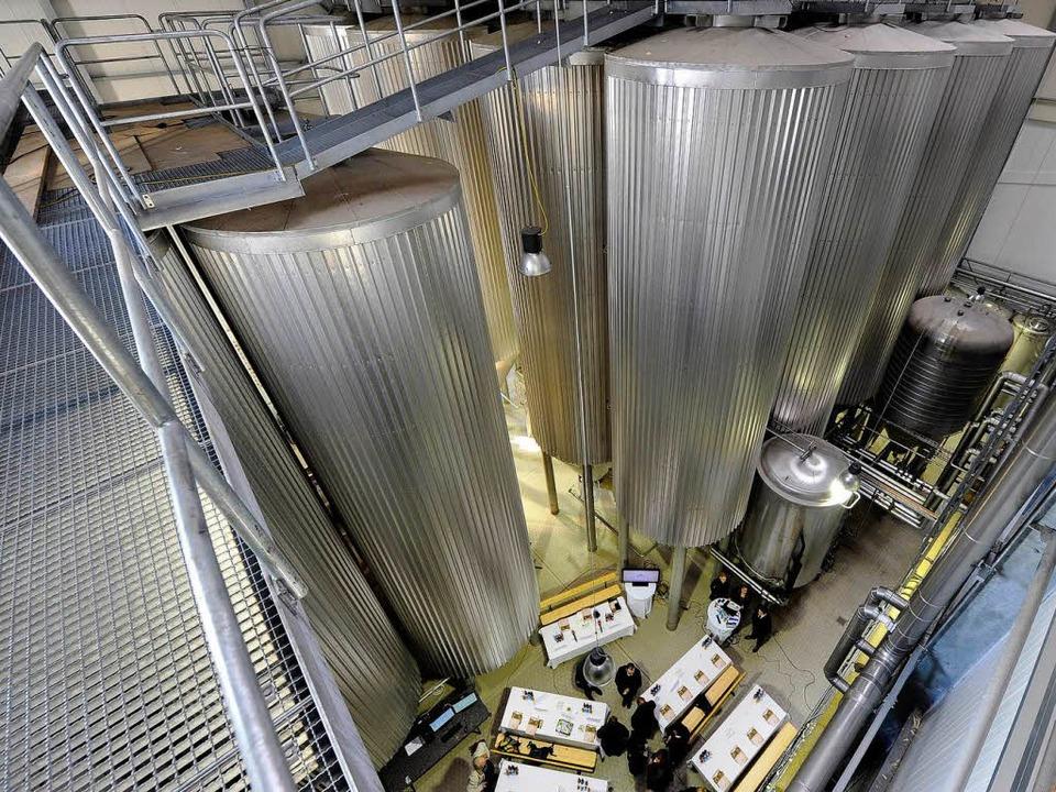 Die neuen Lagertanks der Brauerei Ganter.    Foto: Ingo Schneider