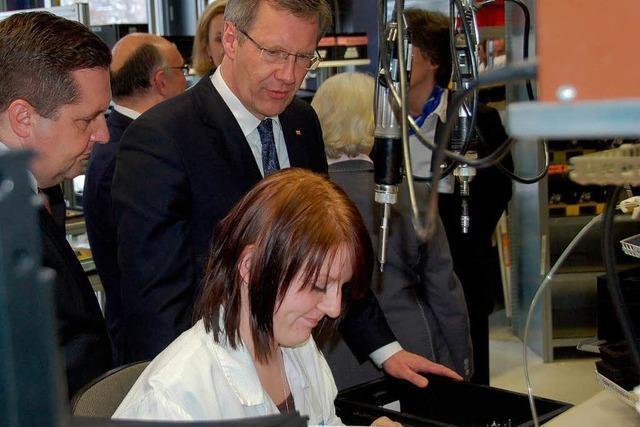 Bundespräsident Christian Wulff besucht die Sick AG