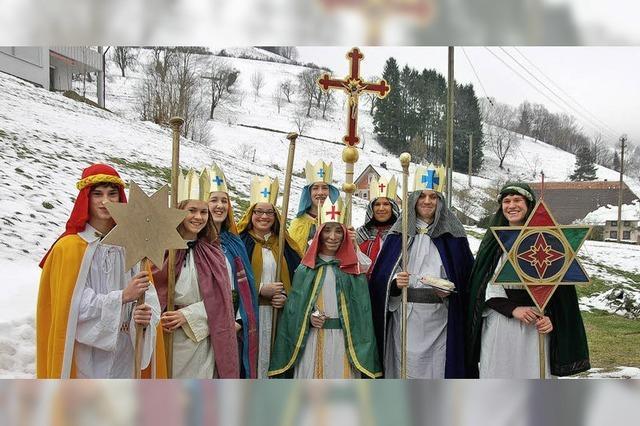Die heiligen Könige mit ihrem goldenen Stern