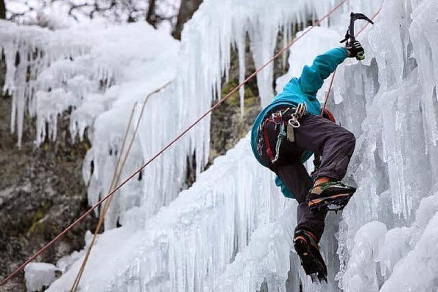 Klettern am Eisfelsen