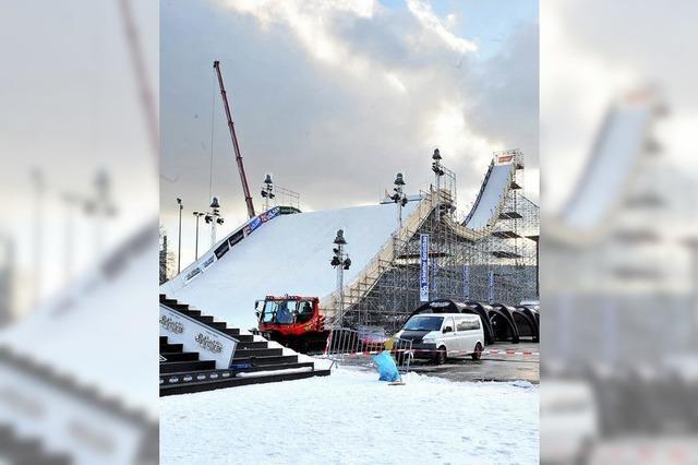 Snowboardkunst auf Gletscherschnee in Stuttgart