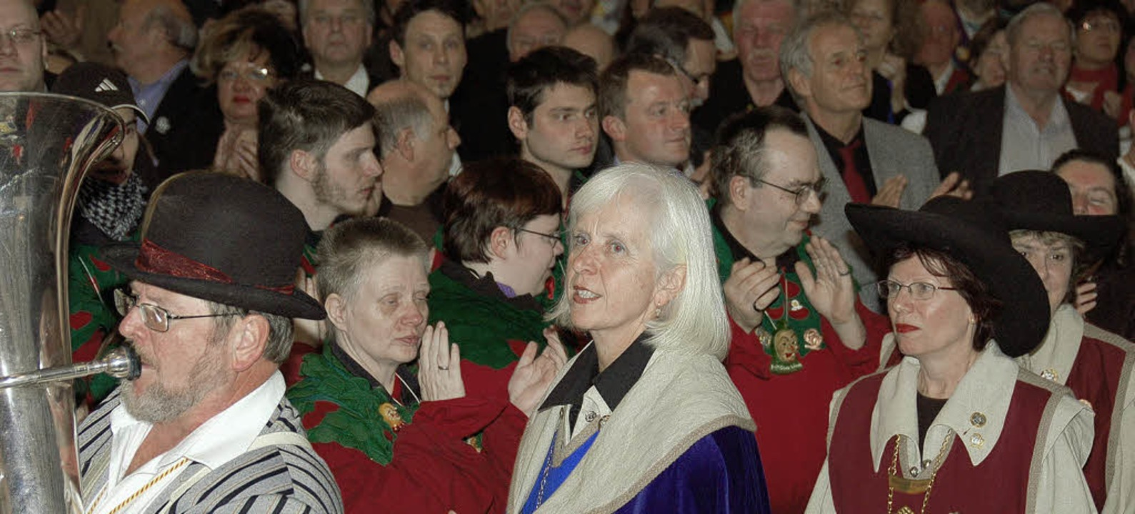 Neujahrsempfang der Narrengilde: Einma... und Mitgliedern des Gildevorstandes.     Foto: Nikolaus Trenz