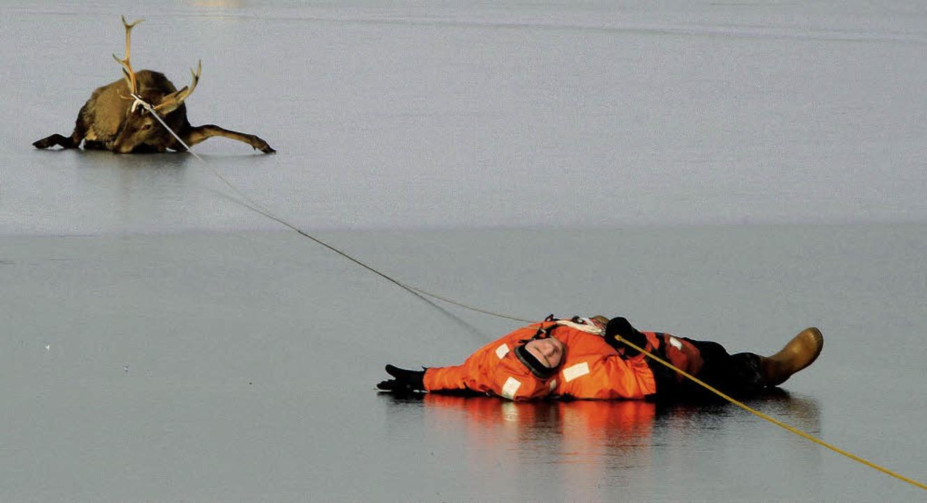 Mit einem Seil werden im nordrhein-wes...che gerettet, die eingebrochen waren.   | Foto: dpa