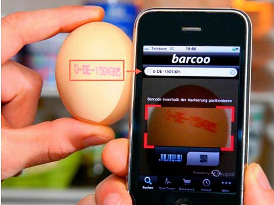 Barcoo: Die Handy-Applikation will Ver...ioxinbelastete Eier zu identifizieren.  | Foto: promo