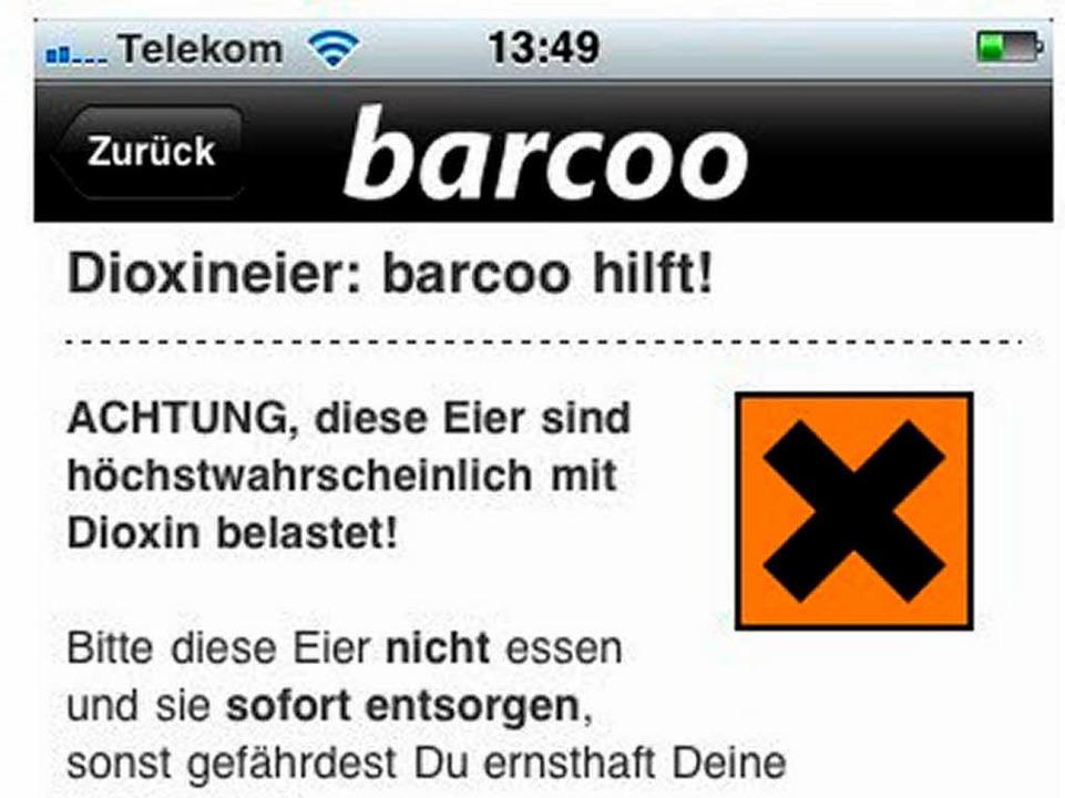 Warnmeldung der Barcoo-App.  | Foto: Screenshot