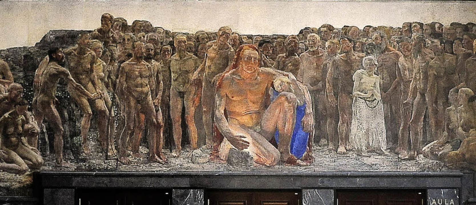 Bühlers Prometheus-Fresko über dem Ein...Aula im KG I der Universität Freiburg   | Foto: Ingo Schneider