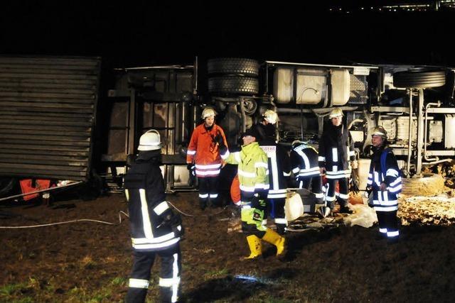 Lkw-Unfall auf A5 bei Lahr – zwei Verletzte