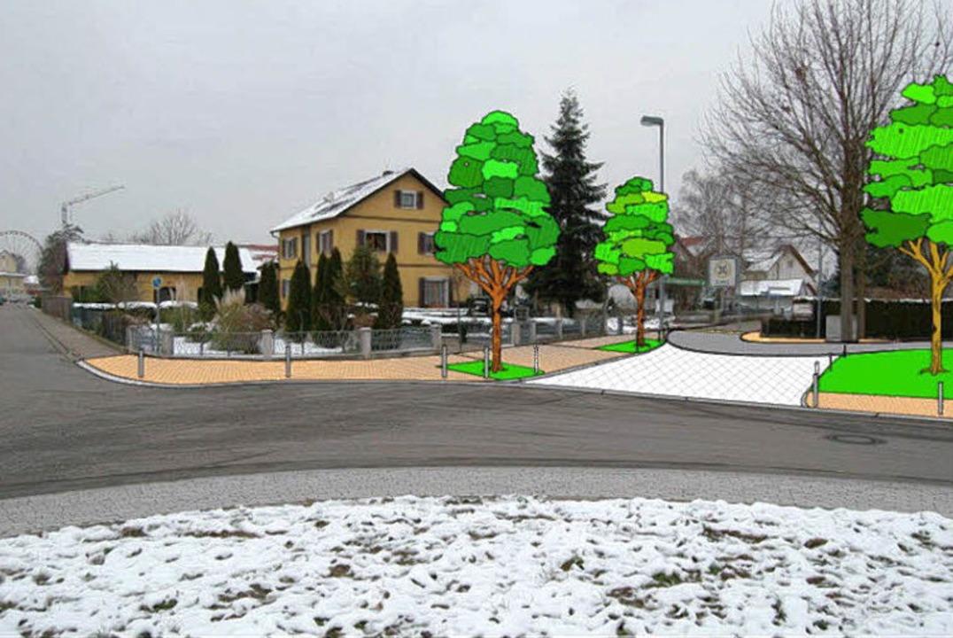 Die Kreuzung  Franz-Sales-Straße, Tulp...ngenweg wie sie einmal aussehen soll.   | Foto: Montage: Architekt