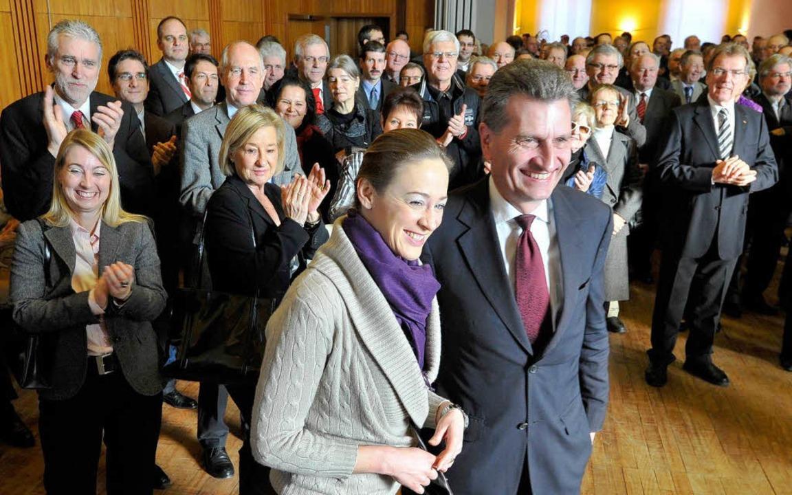 Der Kommissar geht um: Günther Oetting...elt die Rede beim CDU-Neujahrsempfang.  | Foto: Michael Bamberger