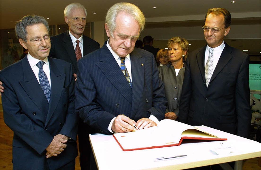 Einweihung des Salmen (von links): Geo...frühere Offenburger OB Wolfgang Bruder    Foto: iris rothe