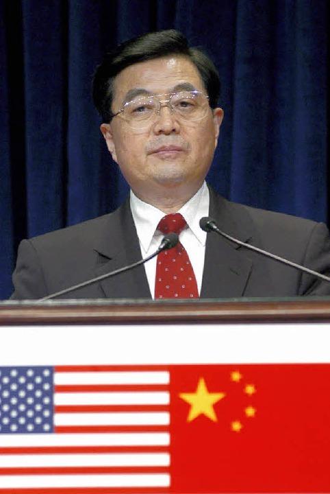 Chinas Präsident Hu  bei einer Rede vor vier Jahren in den USA   | Foto: dpa