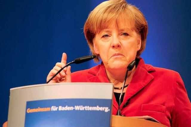 CDU-Landesparteitag: Merkel und Mappus warnen vor Grünen
