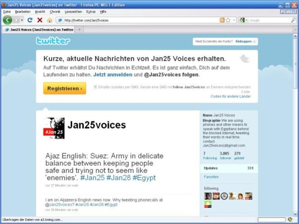 Tweets per Telefon aus Ägypten