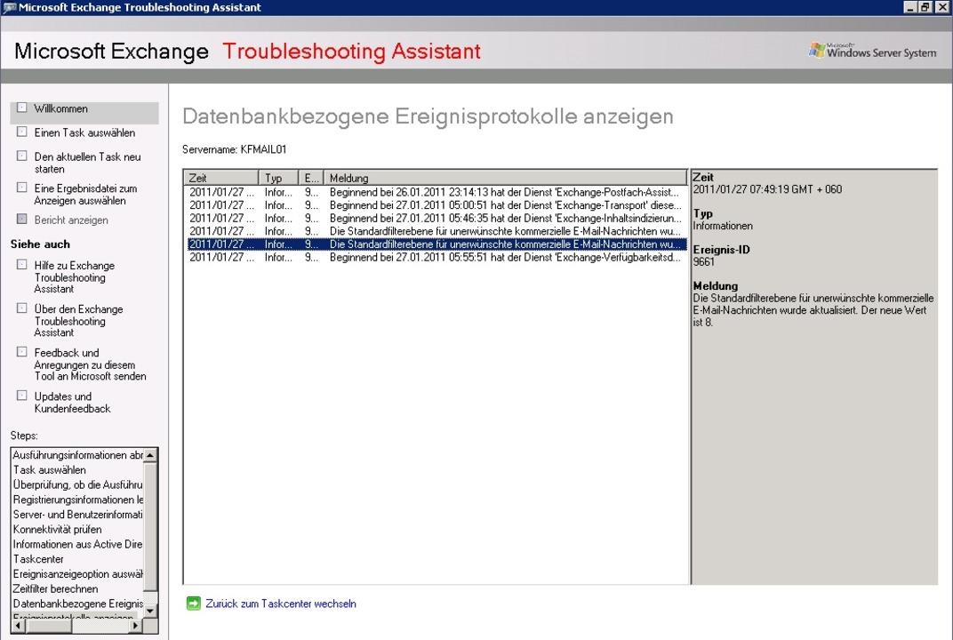 Hier sind die entsprechenden Meldungen...8220; eines Exchange-Servers zu sehen.    Foto: IDG