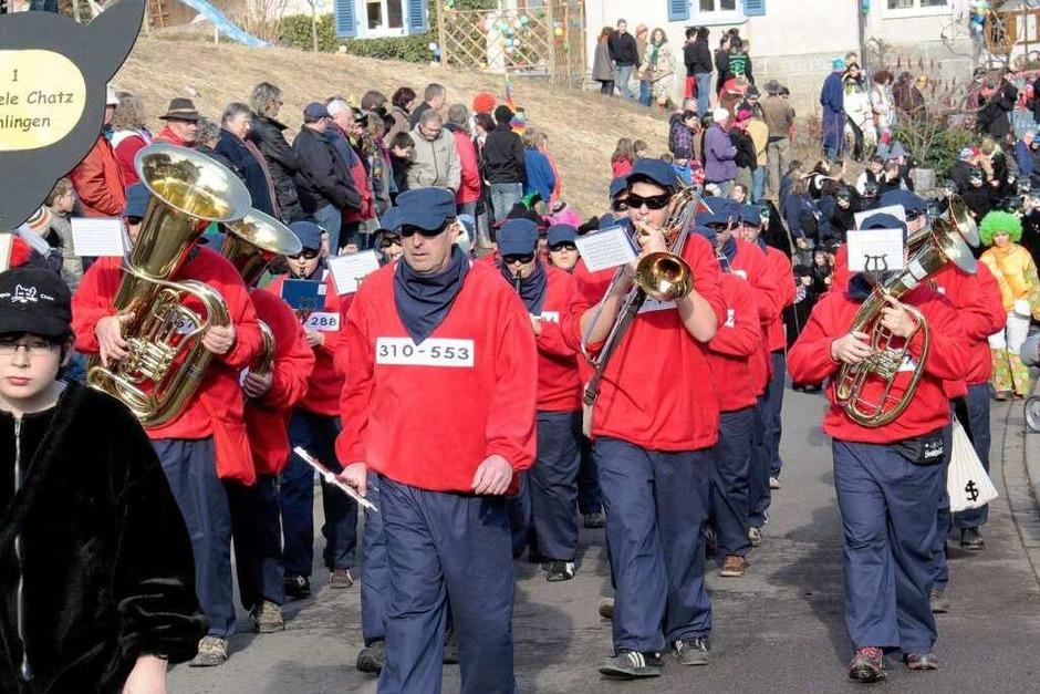 Zunftmusik der Stiegele Chatzen: 65 Gruppen mit rund 3500 Häs- und Maskenträgern beim Schlüchttal-Narrentreffen in Ühlingen (Foto: Wilfried Dieckmann)