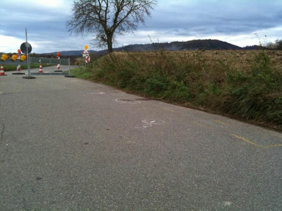 Die Unfallstelle beim Nordweiler Sportplatz.    Foto: Bernd Landwehr