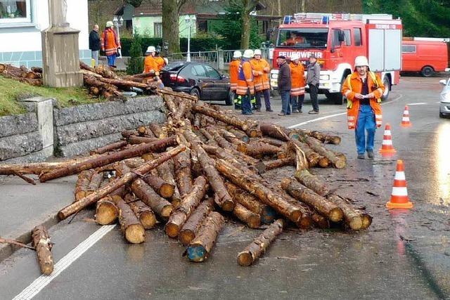 Holzlaster in Ottenhöfen umgekippt
