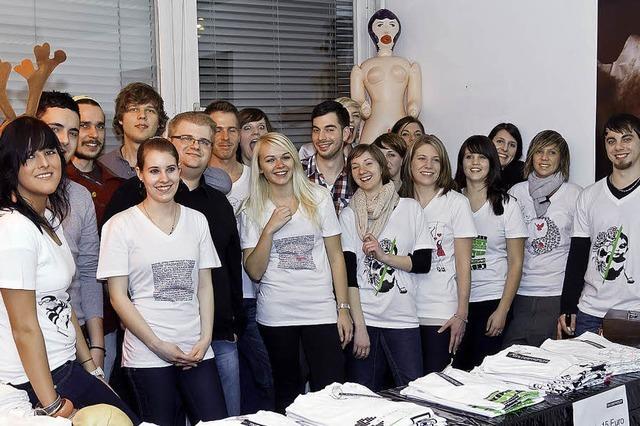 Die Präsentation der T-Shirts war vom Feinsten