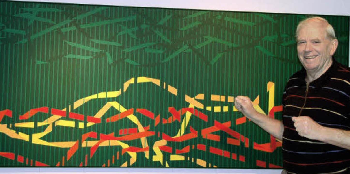 Peter Pietsch in Reute hat die Malerei für sich entdeckt.     Foto: Pia Grättinger