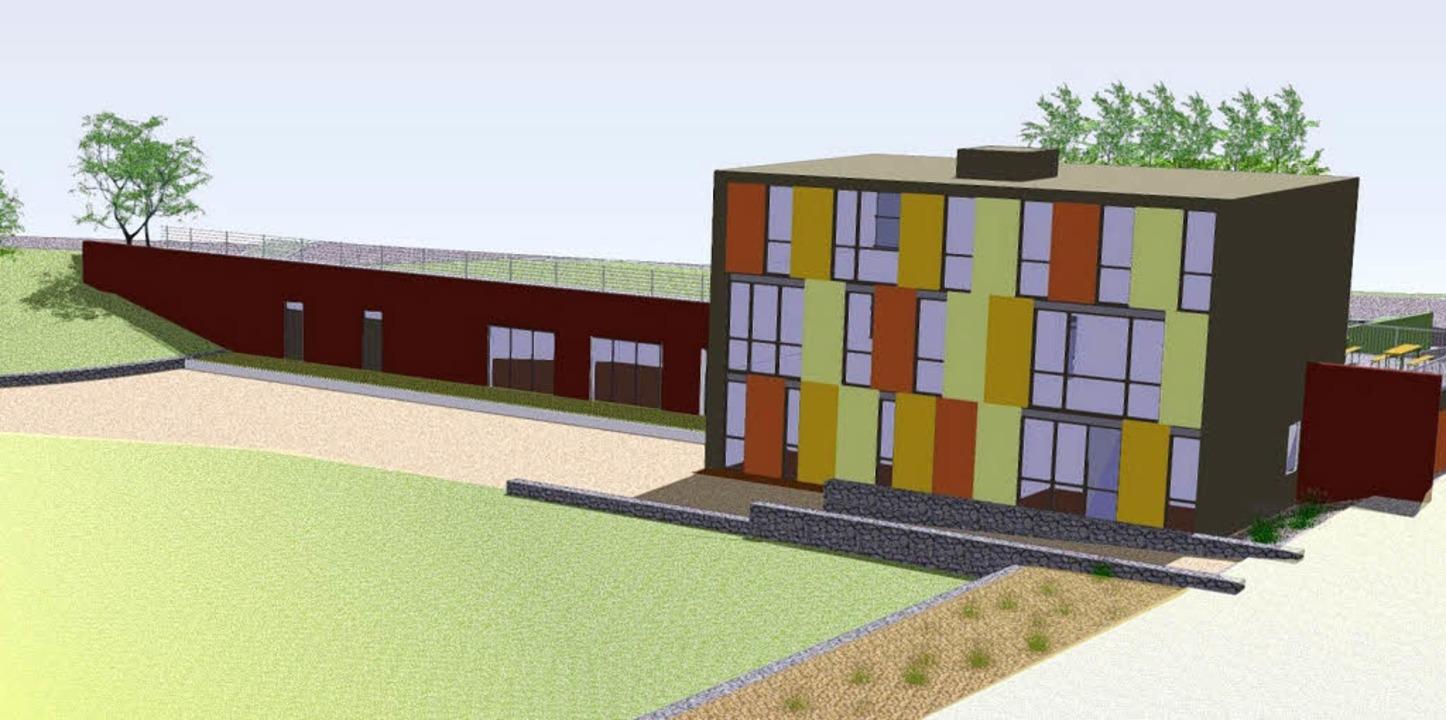 So soll das neue Jugendhaus aussehen: ...hmiegt ist der Veranstaltungsbereich.     Foto: Entwurf: Architektengemeinschaft Senger/Geisel